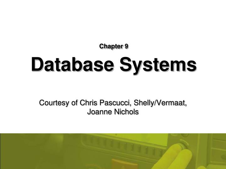 Chapter 9 database systems