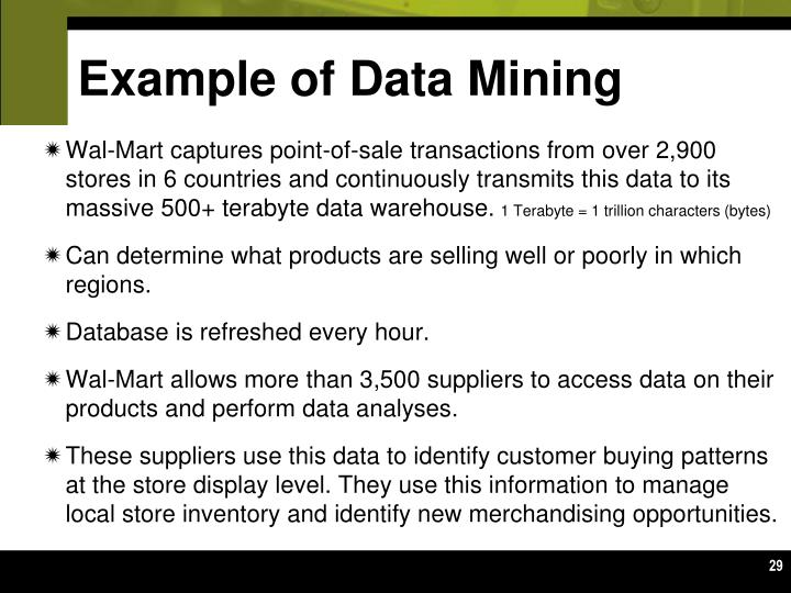 Example of Data Mining