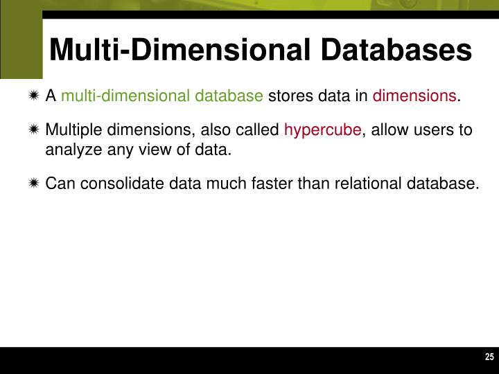 Multi-Dimensional Databases