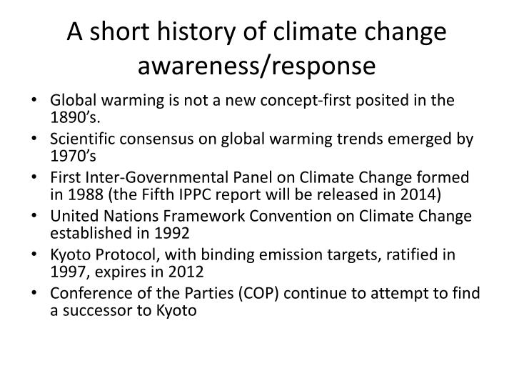 A short history of climate change awareness/response