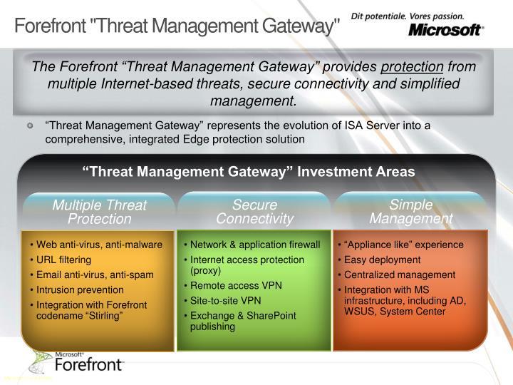 "Forefront ""Threat Management Gateway"""