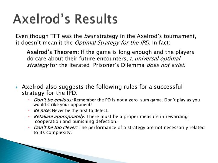 Axelrod's Results