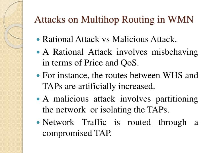 Attacks on Multihop Routing in WMN