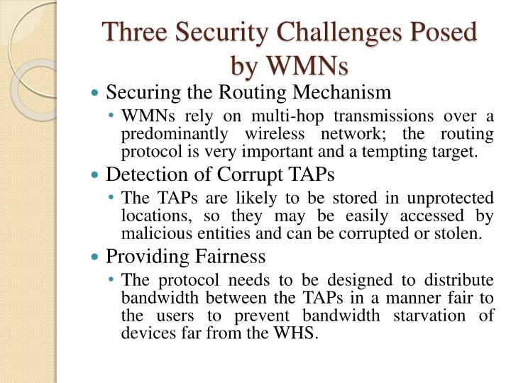 Three Security Challenges Posed by WMN