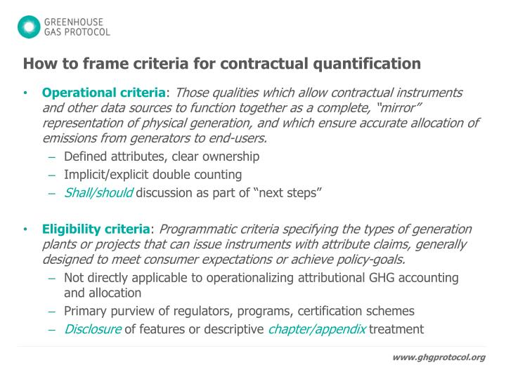 How to frame criteria for contractual quantification