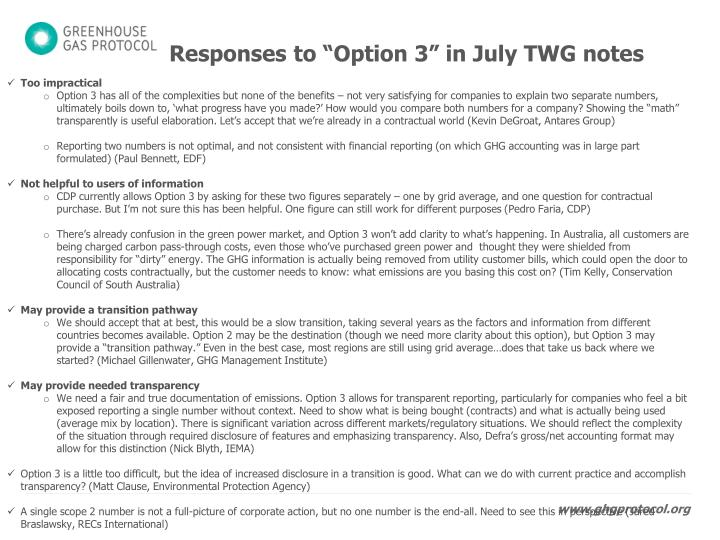 """Responses to """"Option 3"""" in July TWG notes"""