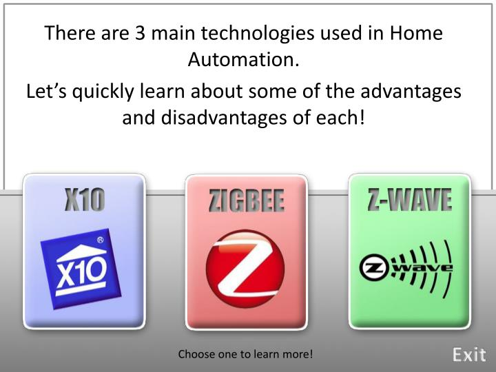 There are 3 main technologies used in Home Automation.