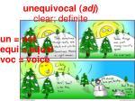 unequivocal adj clear definite un not equi equal voc voice