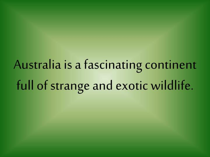 Australia is a fascinating continent full of strange and exotic wildlife.