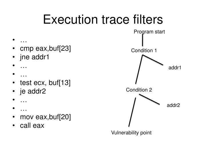 Execution trace filters
