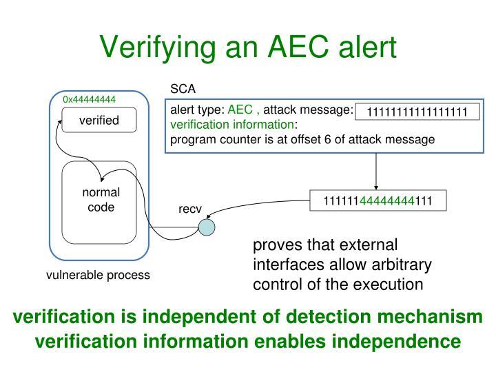 Verifying an AEC alert