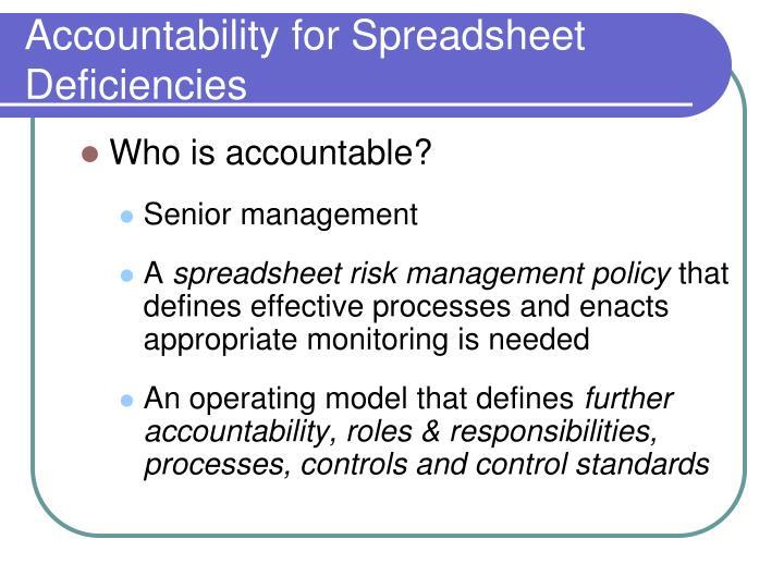 Accountability for Spreadsheet Deficiencies