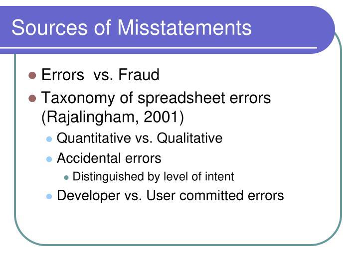 Sources of Misstatements