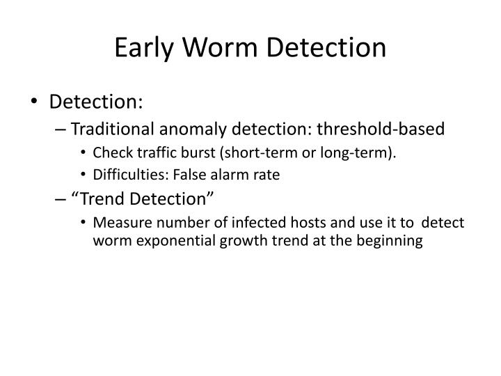 Early Worm Detection