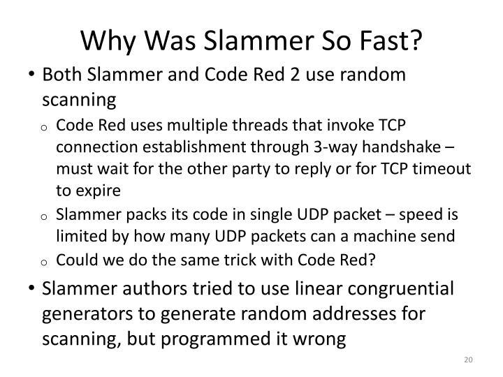 Why Was Slammer So Fast?