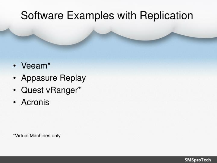 Software Examples with Replication
