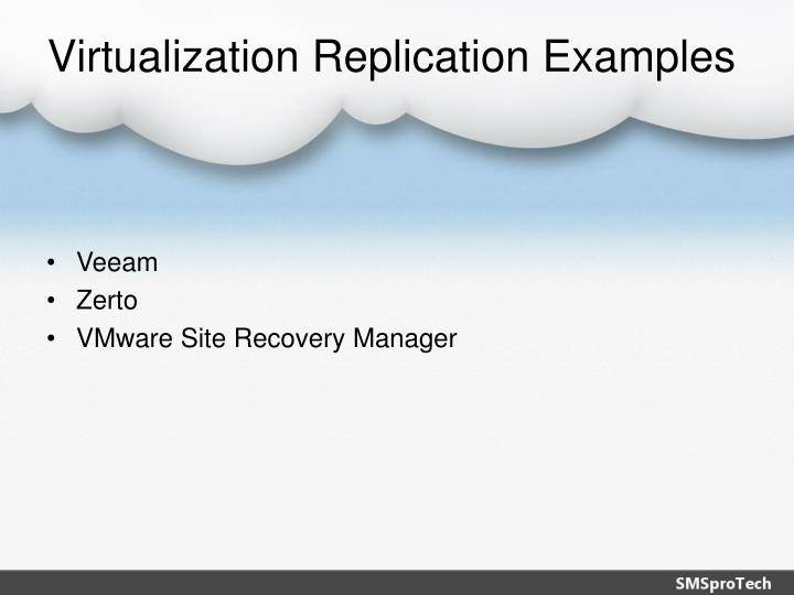 Virtualization Replication Examples