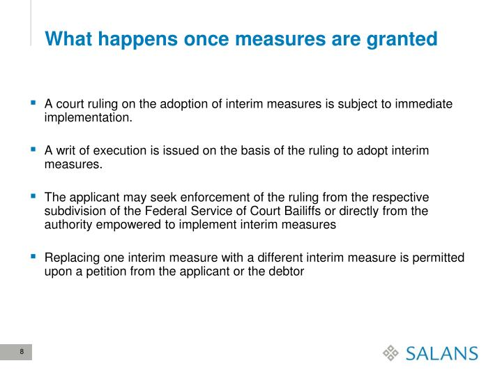 What happens once measures are granted