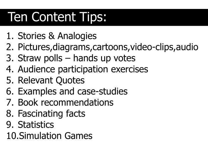 Ten Content Tips: