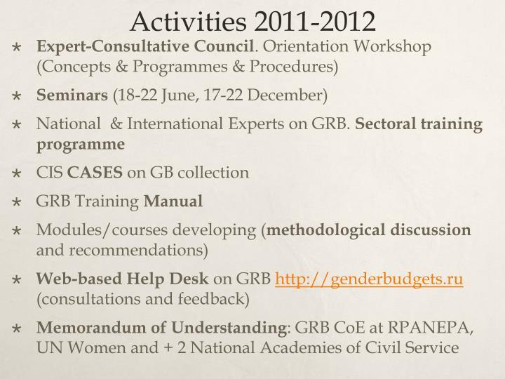 Activities 2011-2012