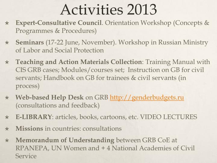Activities 2013