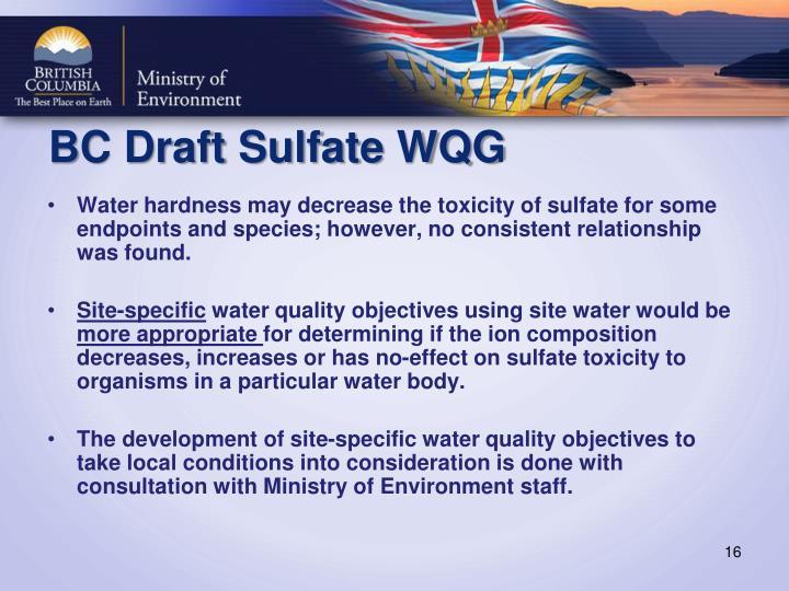 BC Draft Sulfate WQG