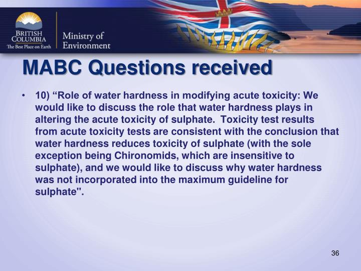 MABC Questions received