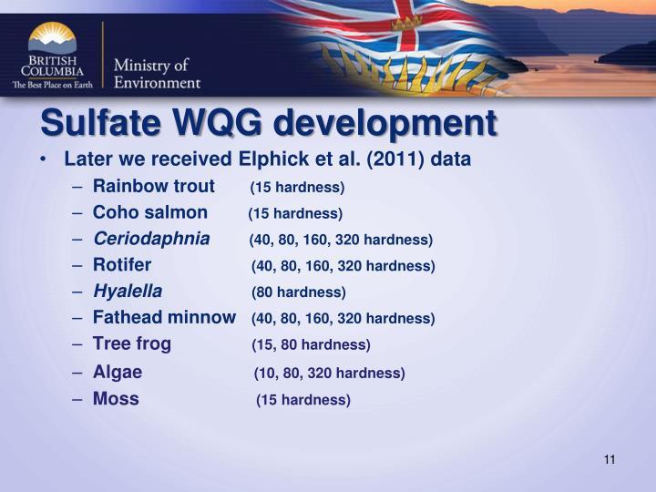 Sulfate WQG development