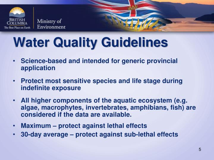 Water Quality Guidelines
