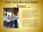 and they learned about rotary