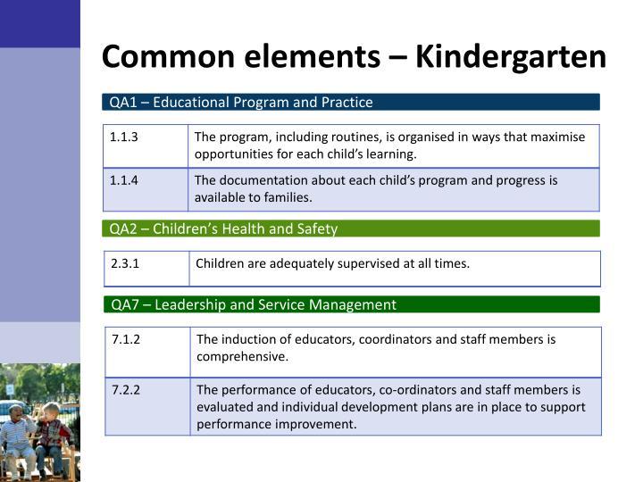 Common elements – Kindergarten