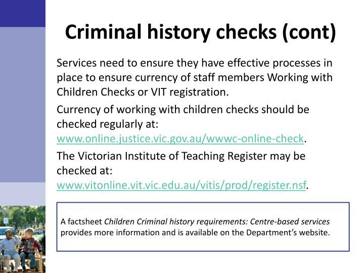 Criminal history checks (
