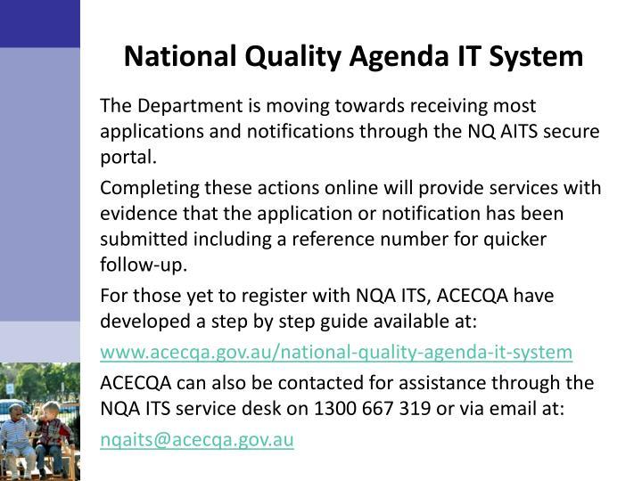National Quality Agenda IT System