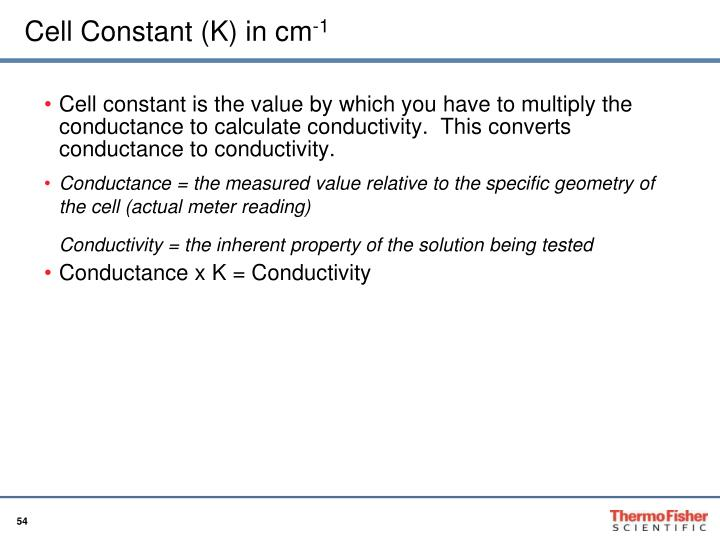 Cell Constant (K) in cm