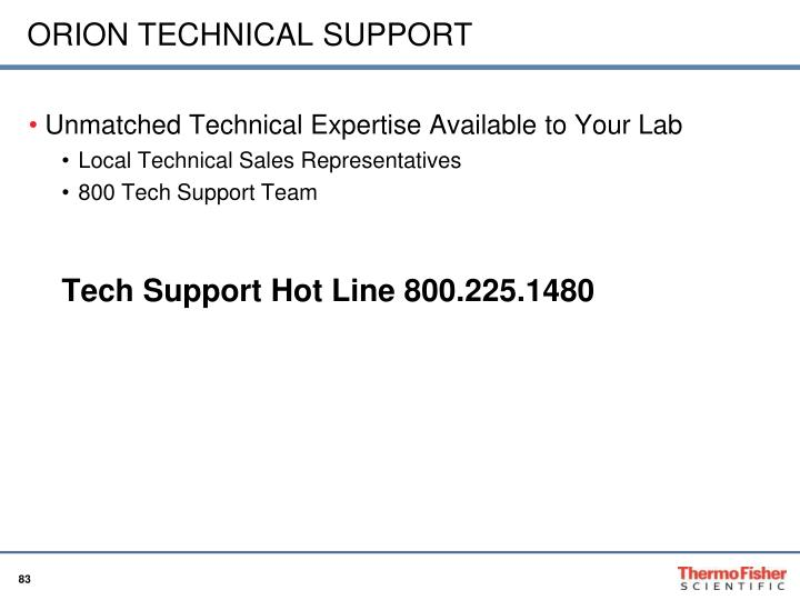 ORION TECHNICAL SUPPORT