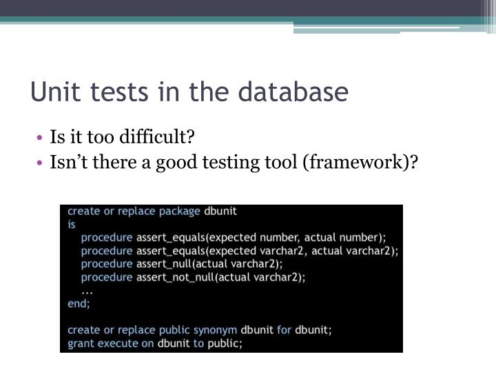 Unit tests in the database
