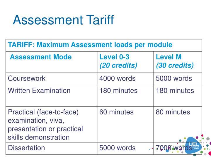 Assessment Tariff