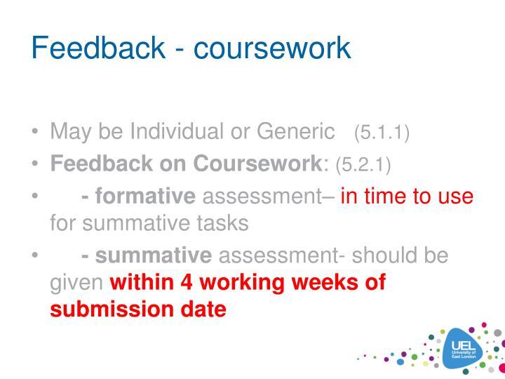 Feedback - coursework