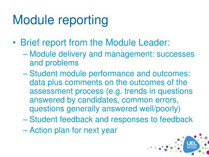 Module reporting