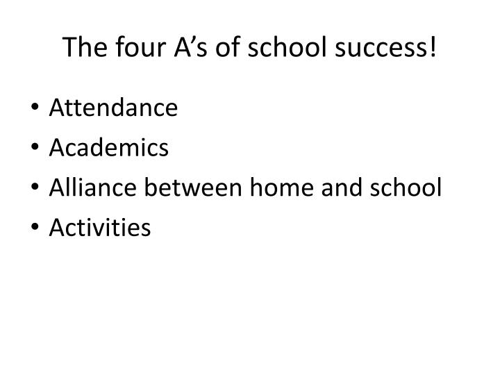 The four A's of school success!