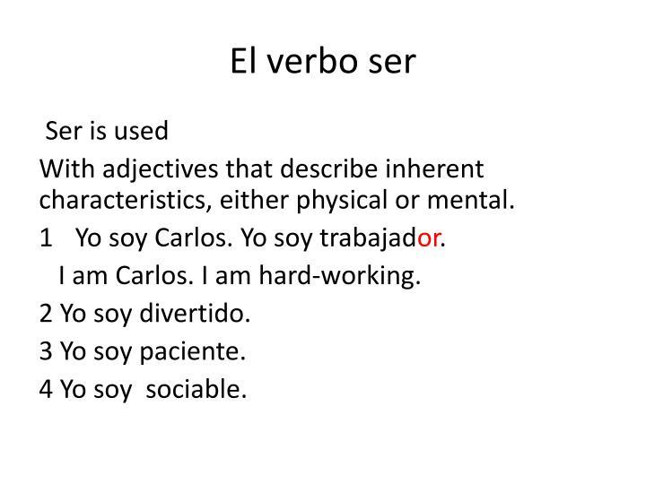 El verbo ser