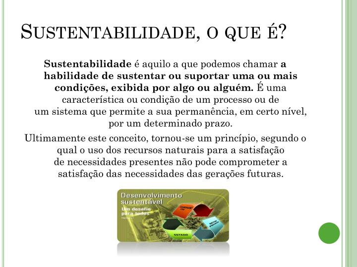 Sustentabilidade, o que é?