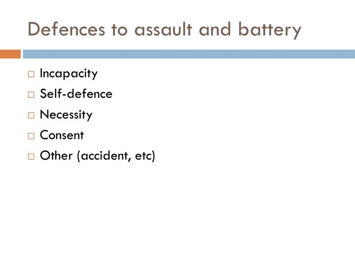 Defences to assault and battery