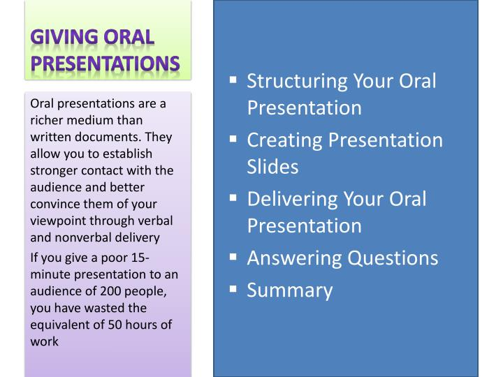 Giving oral presentations1