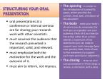 structuring your oral presentation