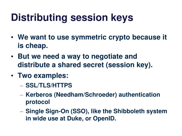 Distributing session keys