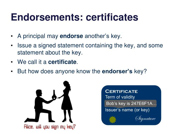 Endorsements: certificates