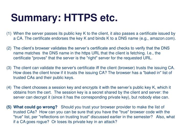 Summary: HTTPS etc.