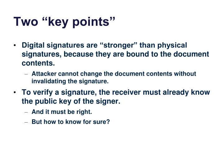 "Two ""key points"""