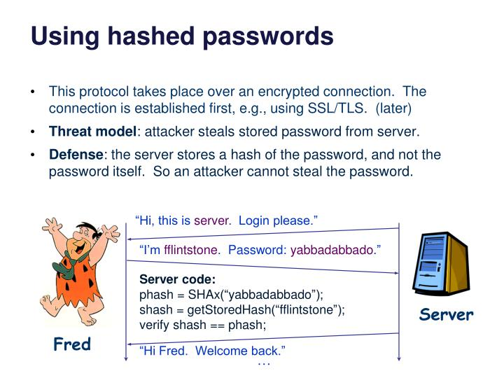 Using hashed passwords